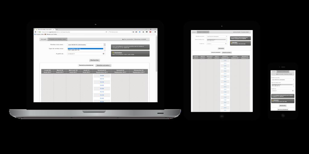 Prise de rendez-oous par Internet multi-écrans (responsive)
