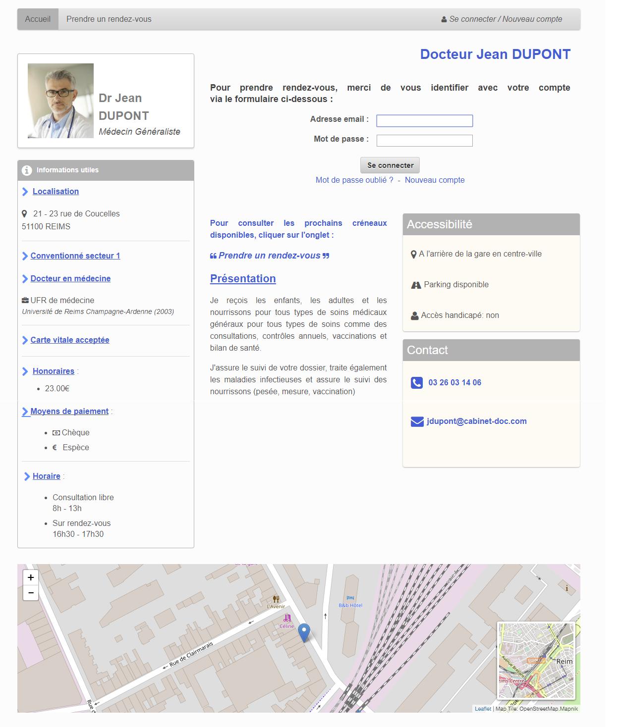 Exemple de page d'accueil de prise de rendez-vous par Internet